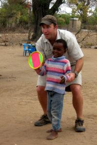 Gav teaching a game of catch
