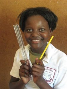 young learner with new stationery