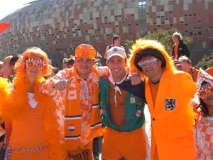 Supporters at the 2010 Fifa World Cup Soccer Match between Netherlands and Denmark