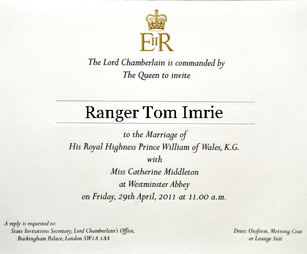 Tom Imrie's Wedding Invite