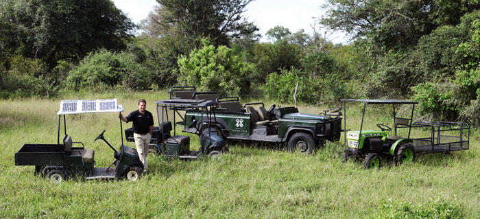 Londolozi's Fleet of Zero Emissions Vehicles: Golf Cart, Land Rover and Tractor