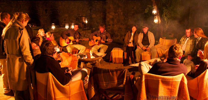 A great night of music and sing-alongs in the Varty Camp Boma