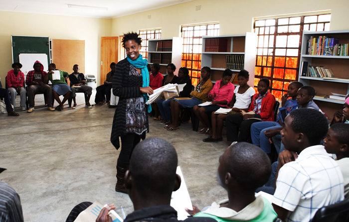 Linky Nkuna teaching a class of adult learners at the Madlala Learning Centre