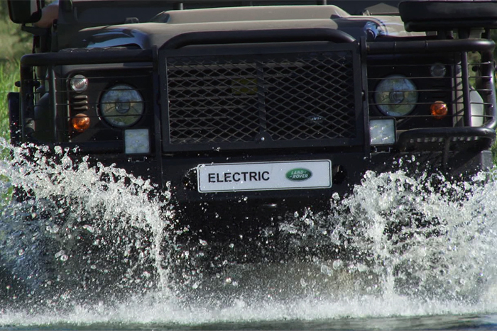 The Electric Land Rover going through Water - Rich Laburn