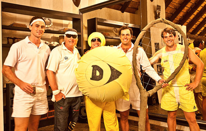 Rex dressed up as a tennis ball, James as a tennis racquet and Sean as the Baseline
