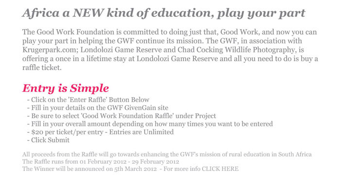 Good Work Foundation Raffle Information