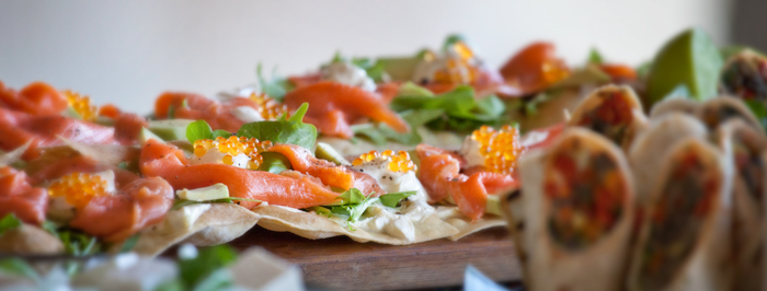Cavair and Smoked Salmon Pizza with Wraps