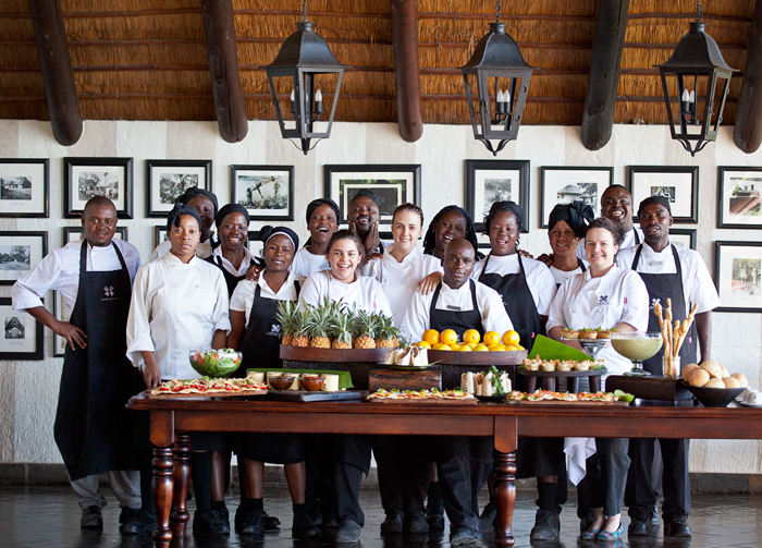 The Londolozi Chef's with their Late Lunch Laid Out