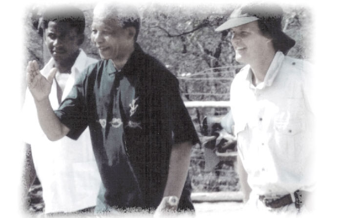Nelson Mandela during his visit to Londolozi after being released from prison