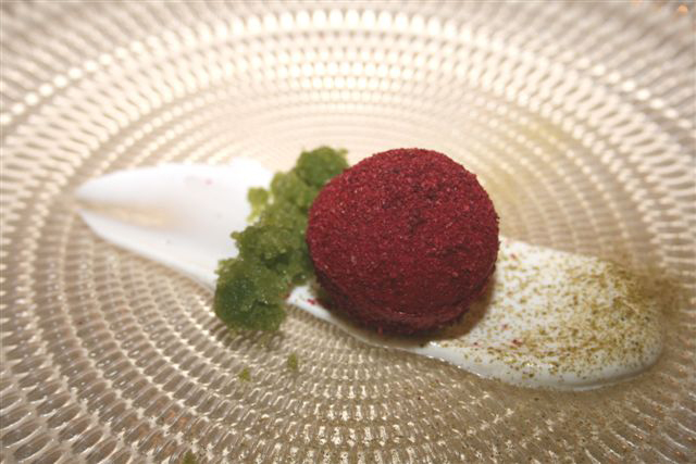 Beetroot, Buttermilk Labneh, Dill & Cucumber Granita, Buchu by Grand Chef Margot Janse