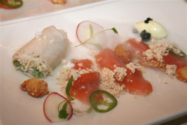 Miso & Sesame Cured Salmon Trout, Vietnamese Roll, LobsterPopcorn, Jalapeno-Ponzu-Dressing - Peter Tempelhoff