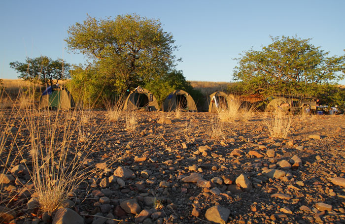 Our 'luxury' tented camps often found their home in a dry river bed