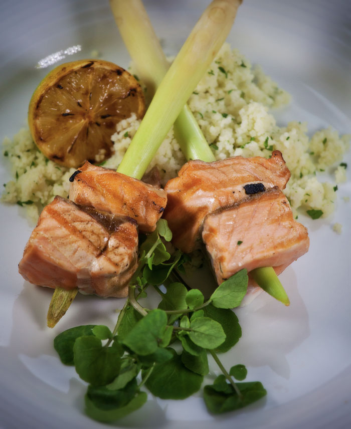 Scottish Salmon on Lemongrass Skewers with Herbed Cous Cous and homegrown Watercress