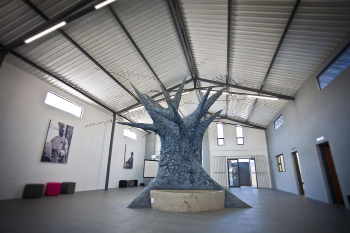 Upon entering the 'Barn' (so named as it was previously a farmers barn) learners are greeted with the Tree of Knowledge.  Built by Simon Bannister, this incredible tree is make from recycled computer parts and stands at over 10 ft high!  The idea for the tree was conceived so as the Good Work Foundation intially started giving lessons to learners under a tree in the wilderness