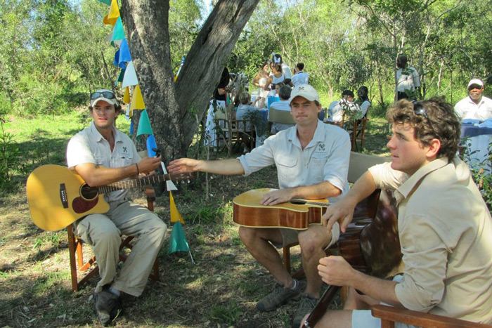 With ranger Dean Smithyman and Richard Laburn; entertaining guests with guitars on Easter morning, 2012.