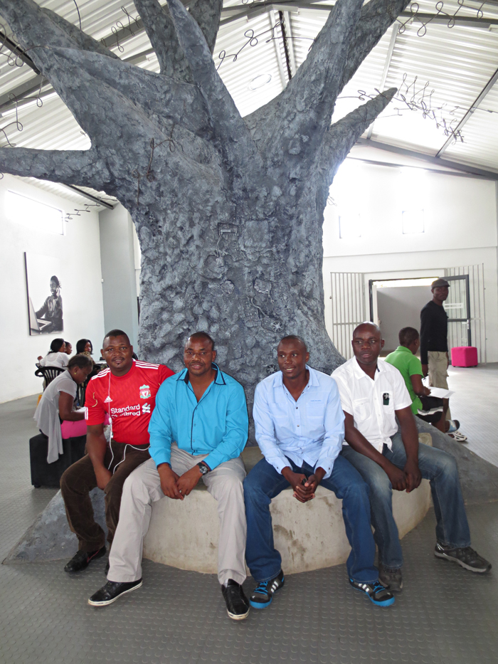 All the smart gents under the tree at the Hazyview learning centre