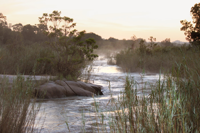 The sand river in the morning mist