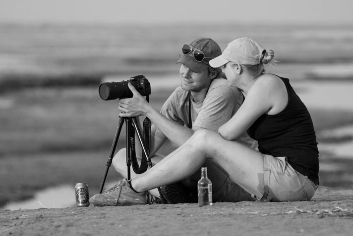 Kate and boyfriend Dave Dampier discuss the finer aspects of photography on the banks of the Zambezi River during a recent trip to Mana Pools