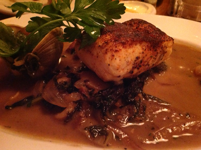 Spicy Halibut & Clam Roast with Bacon Braised Greens, White Beans & Black Trumpet Mushrooms