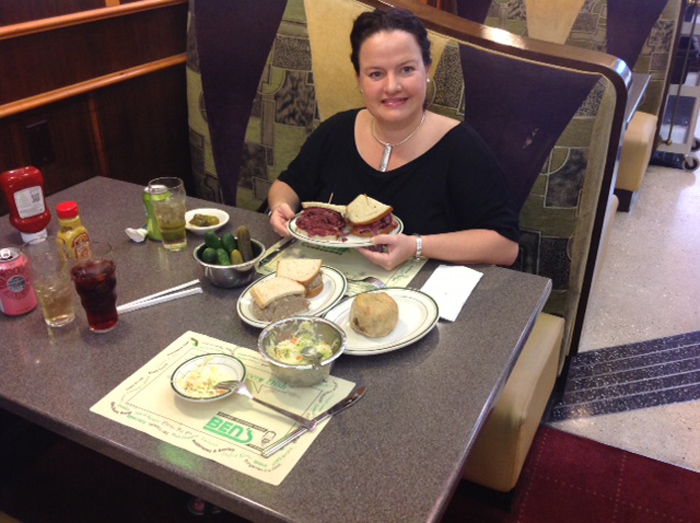 My Final Gourmet Moment at the Bens Deli, eating a Corned Beef Pastrami on Rye!