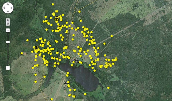 When one zooms into the highest activity areas one can begin to see individual points. Each point represents two hours. In the top left you can see the high accumulation of points – this is the den site where her cub was born on 21 April this year.