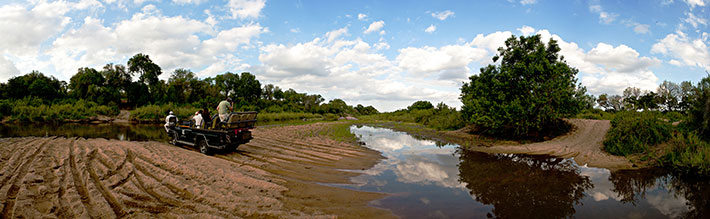 A panoramic image taken in the Sand River, just upstream from where the elphants were drinking (although not on the same day) This illustrates the difference between using a higher zoom (elephants and hippos) and a wider angle lens (Land Rover photo). Image by Ryan Hilton of Admiral Travel.