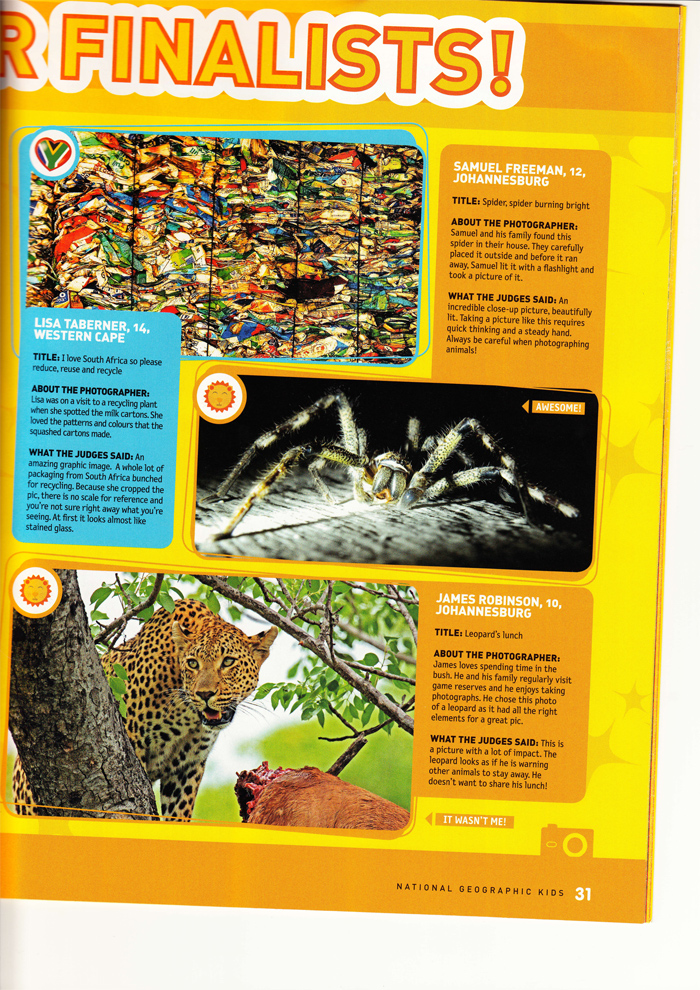 A copy of the magazine in which James was a finalist! His picture is the bottom one with the leopard in a tree.