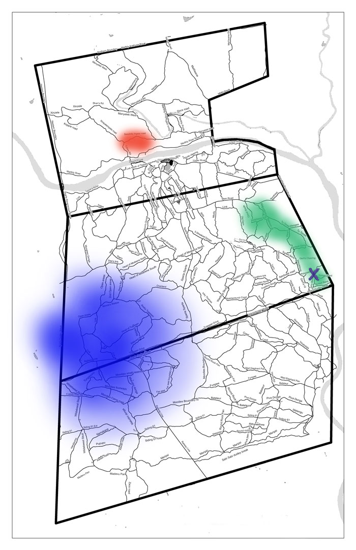 The red area shows where the three cheetahs were first seen on Londolozi. The blue is the area in which they were most frequently encountered. The green shows where they would drift occasionally, and the X is where they were last seen on Londolozi. They headed east from there.