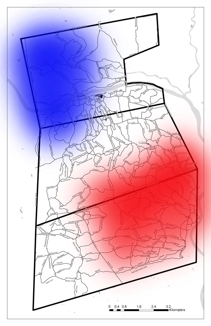 Traditional territories of the two prides. Sparta Pride in Red, Mhangeni in Blue