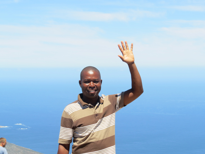 Eric on 'top of the world' waving to all friends, family and guests!