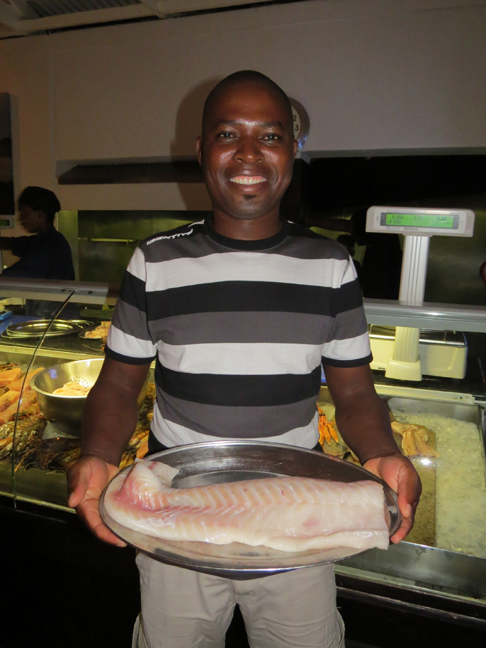He decided Kingklip was the way to go and having it freshly caught off the line, weighed and grilled in front of him, he now knows that it is the only way he will serve his fish dishes.