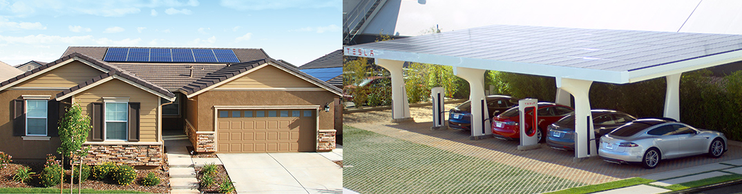 A solar-powered house (left) and a Tesla service station