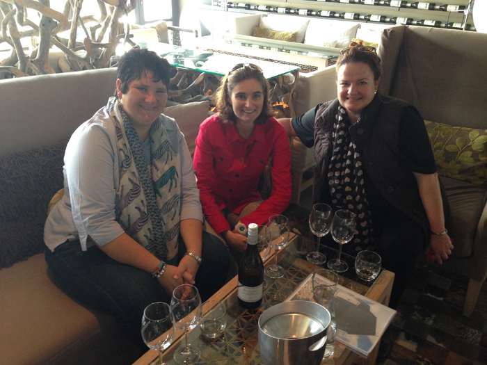 A girls day out, Kim, Jacqui, Anna enjoying a glass of Steenberg