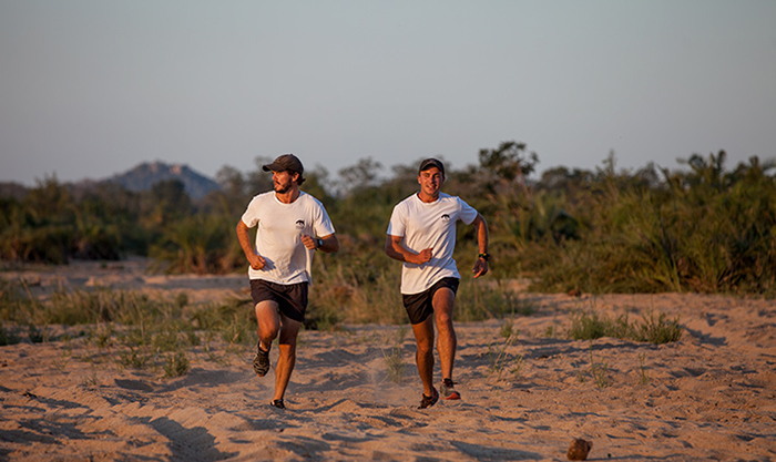 James Tyrrell and Pete Fleck on a training run at Londolozi.