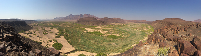 Panoramic view of the Huab River, home to Gemsbok, Elephant, Desert Adapted Black Rhino and Lion.