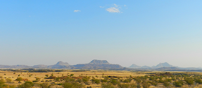 Golden savannahs and outlandish geometric formations are the cornerstone of the Damaraland desert.