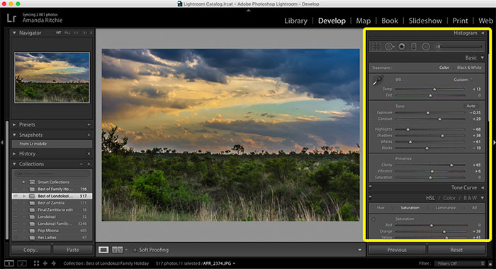 Lightroom easy interface copy