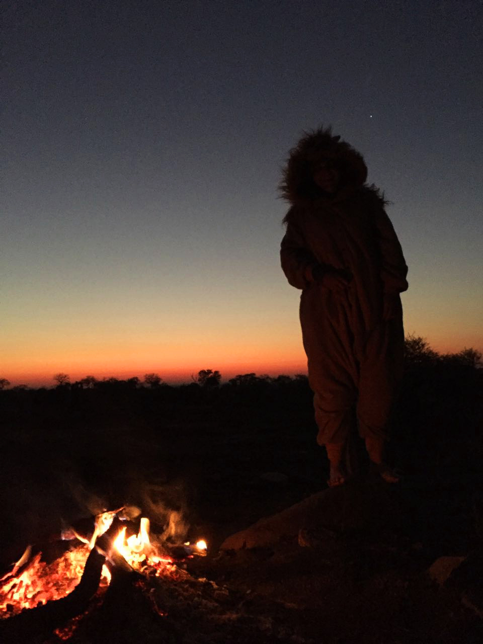 lion onesie at night