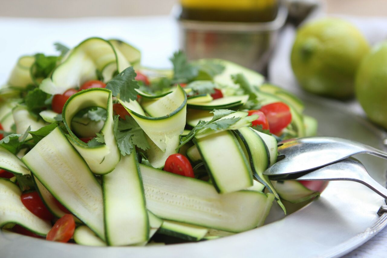 Courgette, cherry tomato and coriander salad