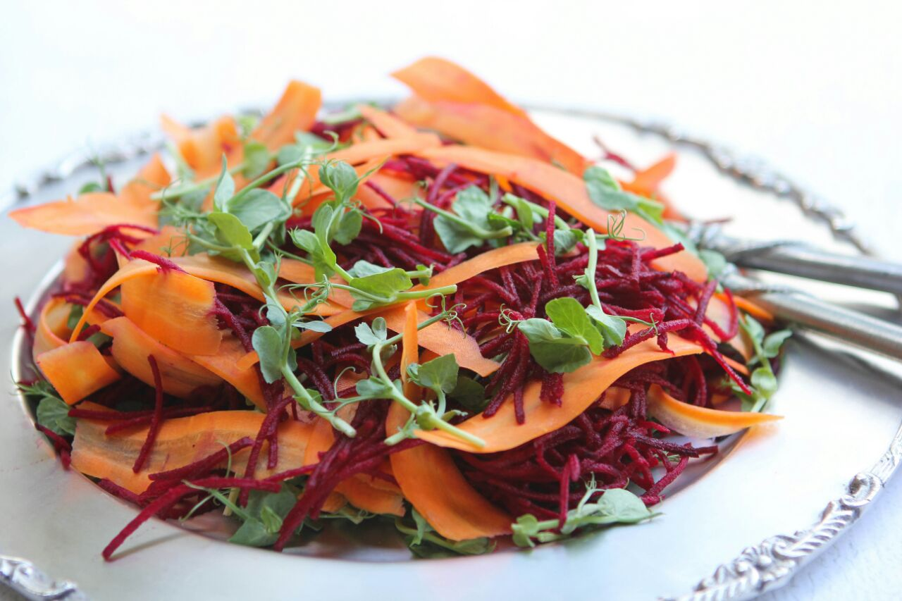 grated beets, ribboned carrots & peashoots