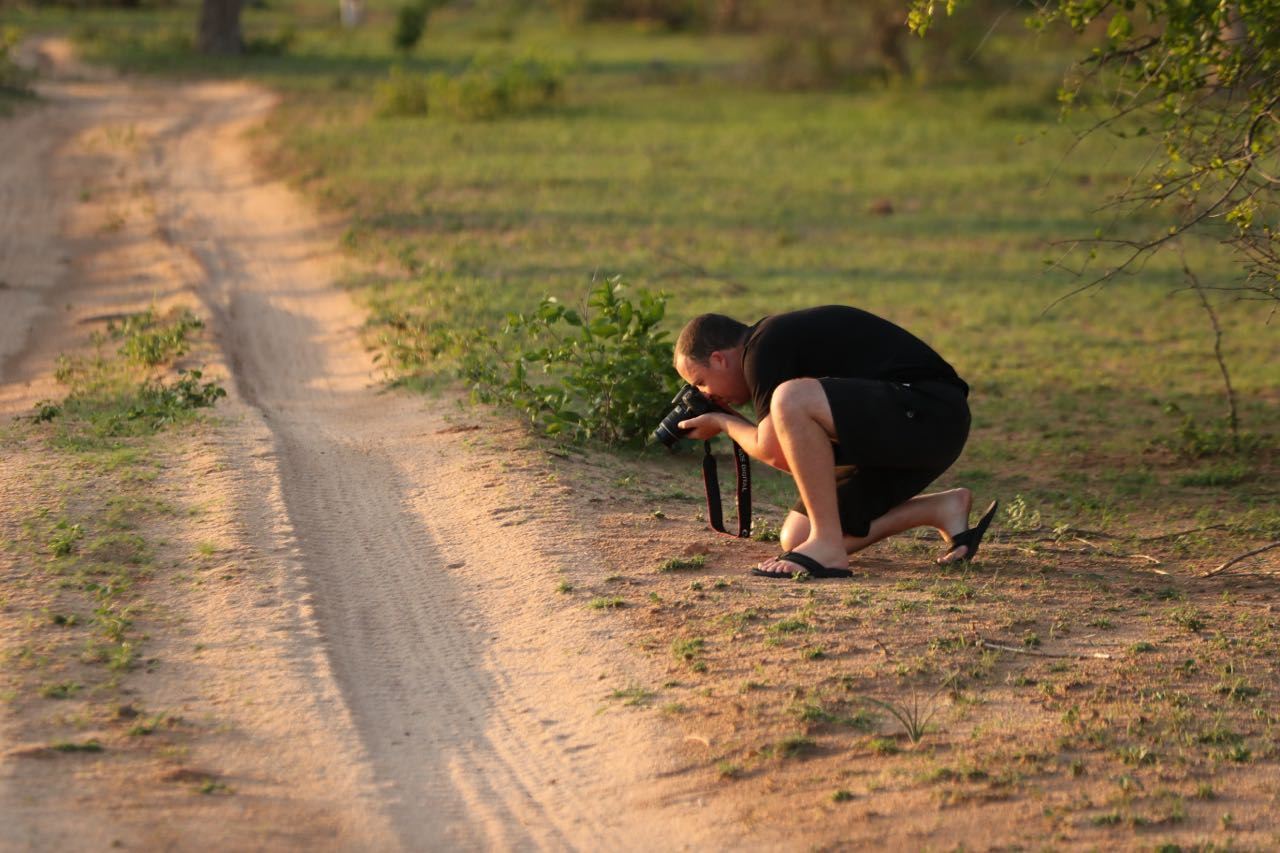 Richard, Ted Swindon's son in law photographs a dung beetle