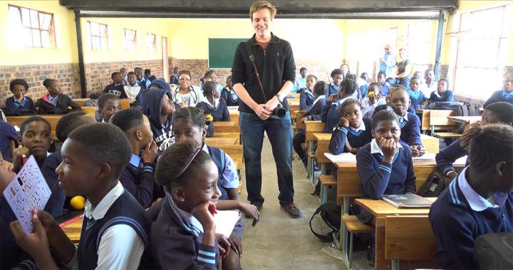 William Julien with School Children
