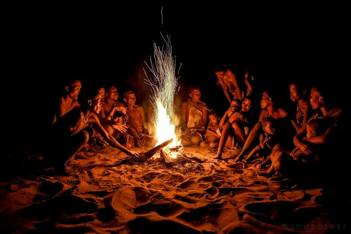 Bushmen Of The Ju/' Hoansi San Sitting At The Campfire, Village //xa/oba, Near Tsumkwe, Otjozondjupa Region, Namibia, Africa