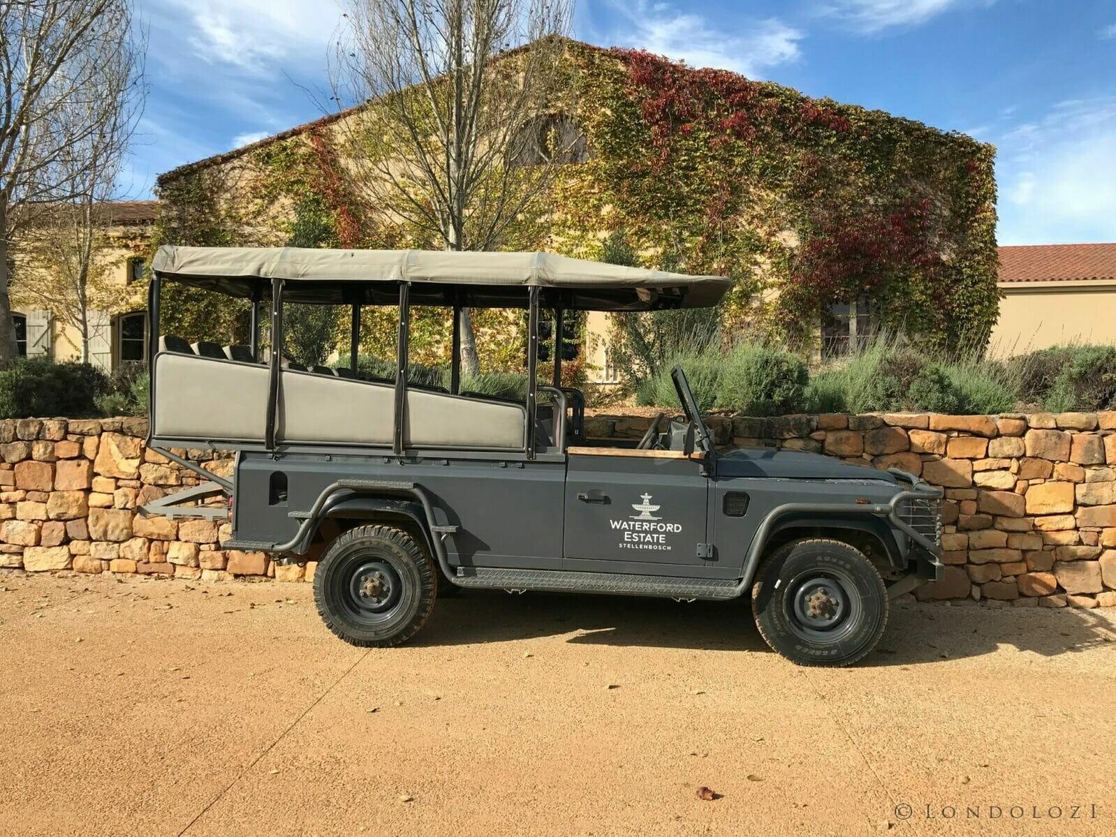 Land Rover used for wine drives at Waterford, from Londolozi to the winelands, the only way to explore nature.