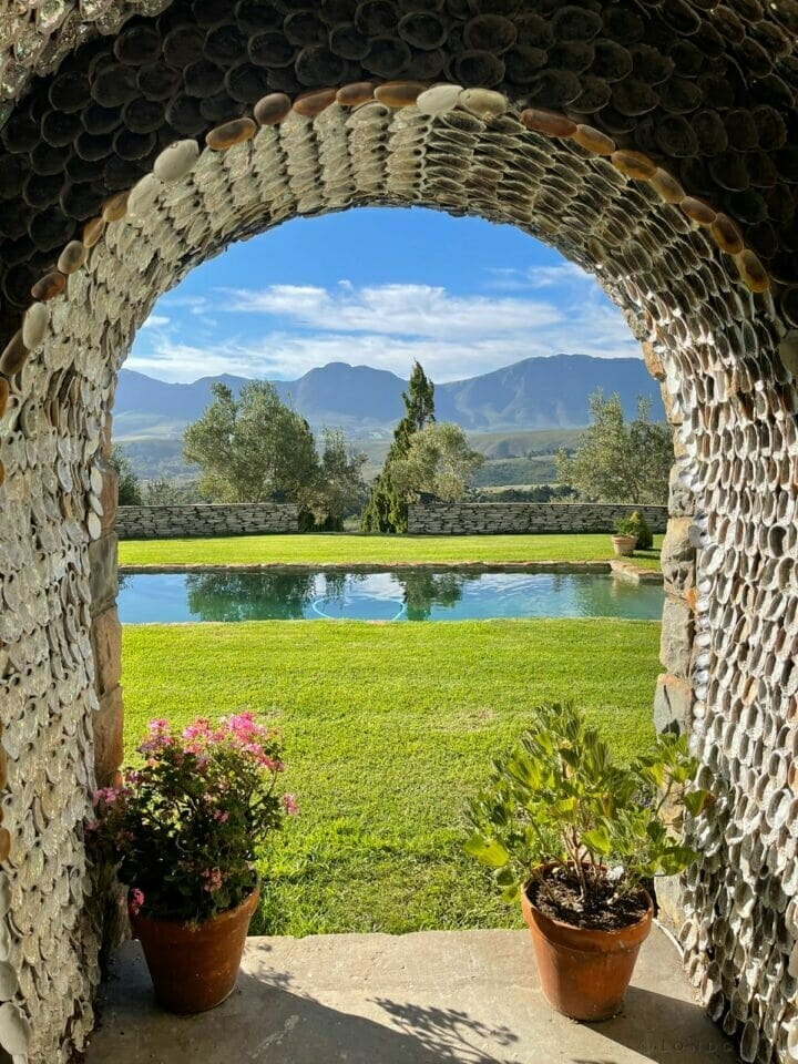 view over the Hemel-en-Aarde from the doorway to Anthony Hamilton Russell's private wine cellar.