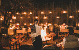 Varty Boma fire and lanterns