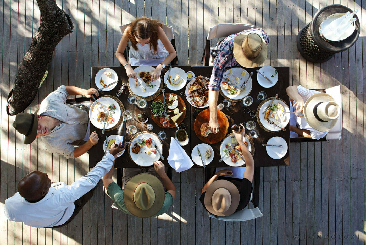 An outdoor feast on the deck of one of the camps at Londolozi Game Reserve - part of the Relais & Chateaux Africa family